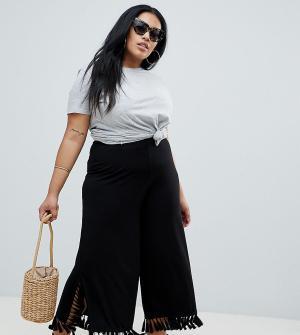 Укороченные широкие брюки с большими кисточками ASOS DESIGN CURVE. Цвет: черный