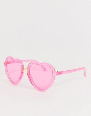 Розовые солнцезащитные очки в форме сердца AJ Morgan. Цвет: розовый