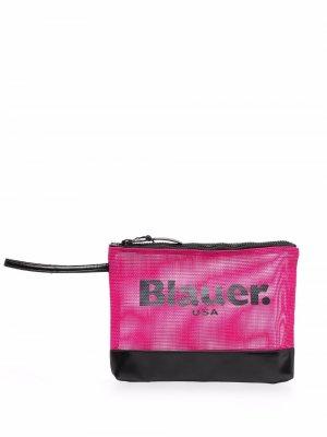 Сетчатый клатч с логотипом Blauer. Цвет: розовый