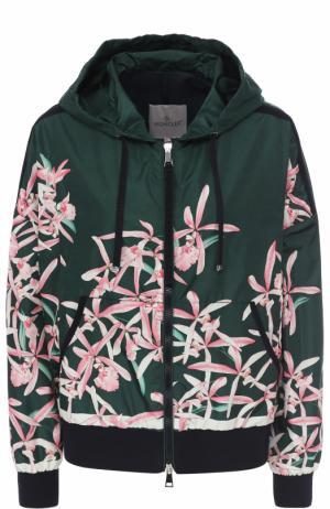 Ветровка свободного кроя с цветочным принтом Moncler. Цвет: темно-зеленый
