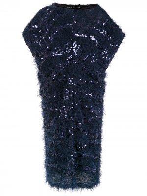 Платье миди с пайетками Gloria Coelho. Цвет: синий