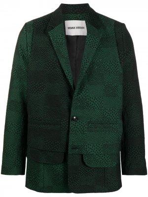 Пиджак с абстрактным принтом HENRIK VIBSKOV. Цвет: зеленый
