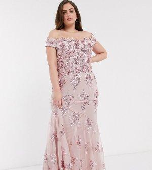 Розовое платье с открытыми плечами и пайетками -Розовый цвет Goddiva Plus