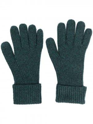 Кашемировые перчатки в рубчик N.Peal. Цвет: зеленый