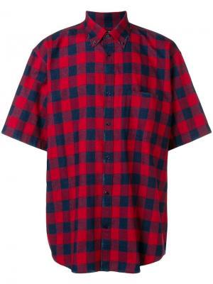 Клетчатая рубашка оверсайз Balenciaga. Цвет: красный