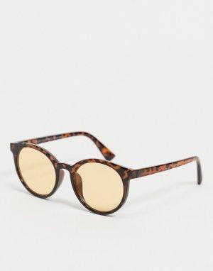 Круглые солнцезащитные очки с желтыми линзами -Желтый New Look
