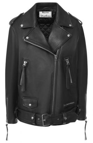 Кожаная куртка с поясом и косой молнией Acne Studios. Цвет: черный