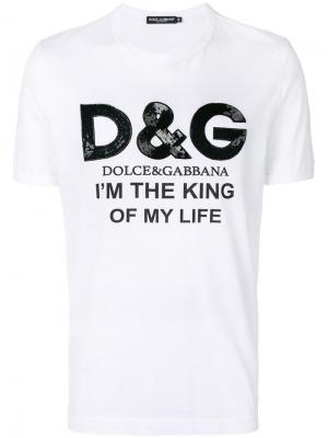 Футболка Im the King of My Life Dolce & Gabbana. Цвет: белый