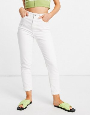 Белые джинсы в винтажном стиле с уплотненным поясом -Белый New Look