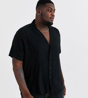 Черная свободная рубашка с отложным воротником Plus-Черный ASOS DESIGN