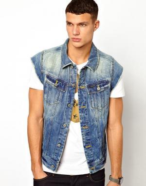 Джинсовая куртка без рукавов с состаренным эффектом G Star G-Star. Цвет: синий с потертостями