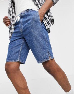 Легкие джинсовые шорты узкого кроя синего цвета с эластичным поясом -Голубой ASOS DESIGN