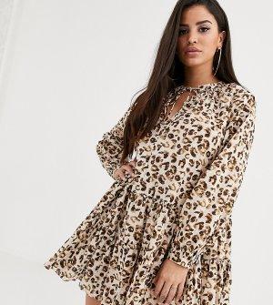 Платье-трапеция мини с леопардовым принтом ASOS DESIGN Petite-Мульти Petite