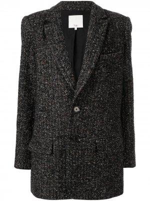 Твидовый пиджак в мелкую точку Tibi. Цвет: черный