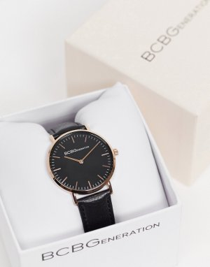 Часы с черным ремешком и циферблатом BCBG Generation-Черный цвет Max Azria