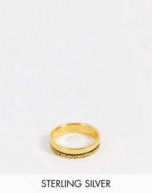 Фактурное кольцо из стерлингового серебра с позолотой14 карат -Золотистый ASOS DESIGN