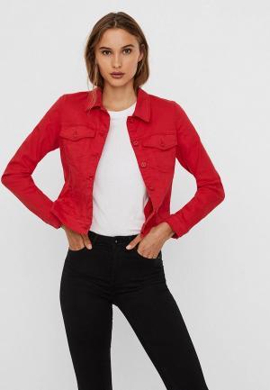 Куртка джинсовая Vero Moda. Цвет: красный