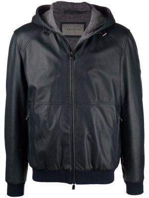 Куртка на молнии с капюшоном Corneliani. Цвет: синий
