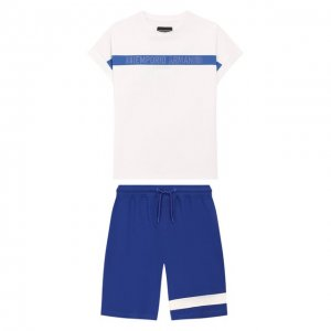 Комплект из футболки и шорт Emporio Armani. Цвет: белый