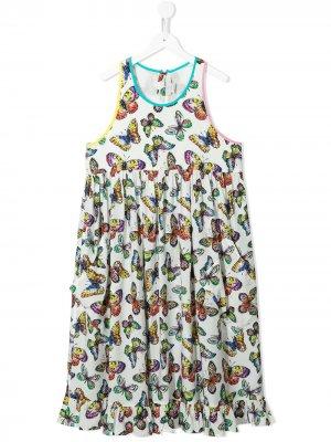TEEN butterfly-print dress Stella McCartney Kids. Цвет: белый