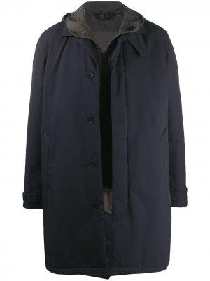Пальто с капюшоном и съемной подкладкой-жилетом Z Zegna. Цвет: синий