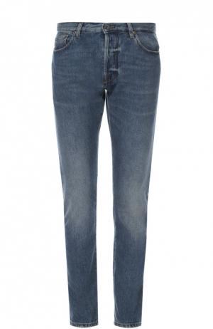 Зауженные джинсы с потертостями Valentino. Цвет: синий