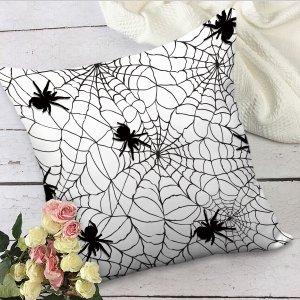 Чехол для подушки без наполнителя на хэллоуин паутина SHEIN. Цвет: черный и белый