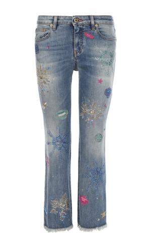 Укороченные расклешенные джинсы с контрастной вышивкой Roberto Cavalli. Цвет: синий