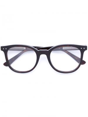 Очки в круглой оправе Bottega Veneta Eyewear. Цвет: коричневый