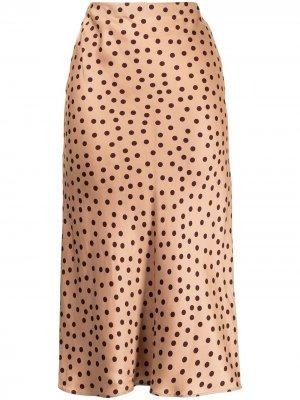 LAgence прямая юбка в горох L'Agence. Цвет: коричневый