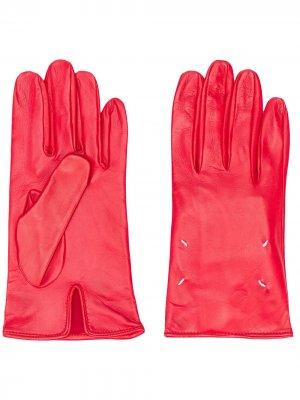 Перчатки с декоративной строчкой Maison Margiela. Цвет: красный