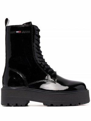 Лакированные ботинки на шнуровке Tommy Jeans. Цвет: черный