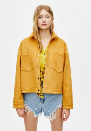 Куртка кожаная Pull&Bear. Цвет: желтый