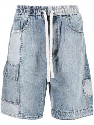 Джинсовые шорты в технике пэчворк FIVE CM. Цвет: синий