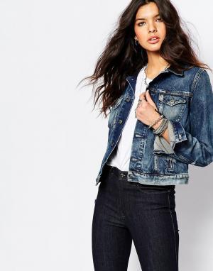 Джинсовая куртка с кожаным рукавом Diesel. Цвет: синий
