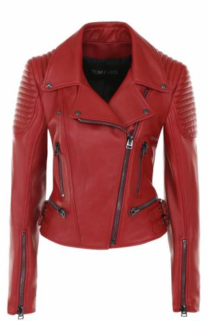 Приталенная кожаная куртка с косой молнией Tom Ford. Цвет: красный