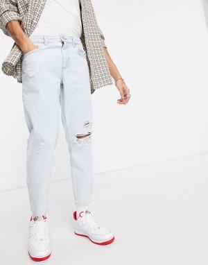 Бледно-голубые классические джинсы с рваной отделкой -Голубой ASOS DESIGN