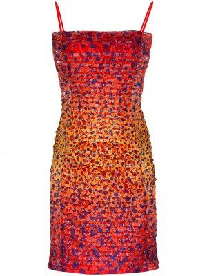 Платье мини с анималистичным принтом House of Holland. Цвет: красный