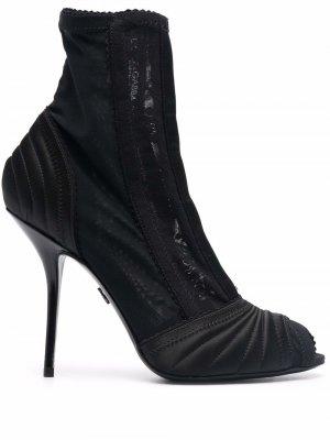 Peep-toe satin ankle boots Dolce & Gabbana. Цвет: черный