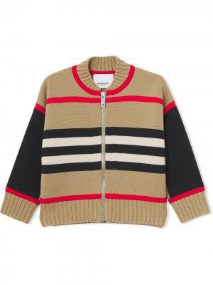 Кардиган в полоску Icon Stripe Burberry Kids. Цвет: коричневый