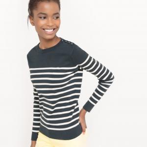 Пуловер-тельняшка из биохлопка R essentiel. Цвет: в полоску бежевый/темно-синий