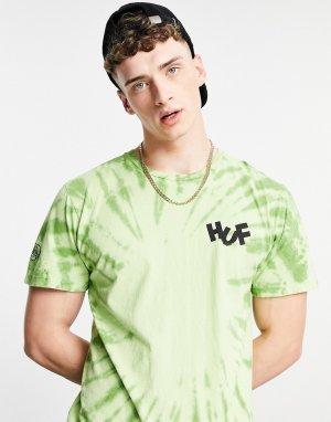 Зеленая футболка с принтом тай-дай Haze Brush-Зеленый цвет HUF