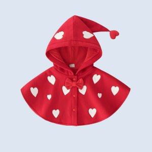 Детский Пальто с принтом сердечка бантом капюшоном плащ SHEIN. Цвет: красный