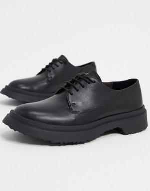 Черные кожаные туфли на массивной подошве со шнуровкой -Черный Camper