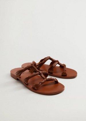 Кожаные сандалии с ремешками - Mano Mango. Цвет: коричневый средний