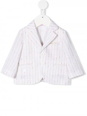 Однобортный пиджак в полоску Le Bebé Enfant. Цвет: белый
