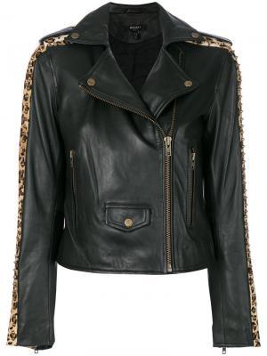 Байкерская куртка с леопардовым принтом и заклепками Muubaa. Цвет: чёрный