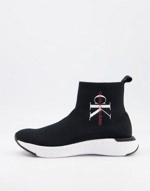 Черные кроссовки с трикотажными манжетами Jeans Adalea-Черный цвет Calvin Klein