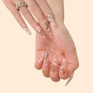 24шт накладные ногти с узором луны и солнца & 1 лист лента 1шт пилочка для ногтей SHEIN. Цвет: многоцветный