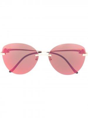 Солнцезащитные очки Panthère в безободковой оправе Cartier Eyewear. Цвет: красный